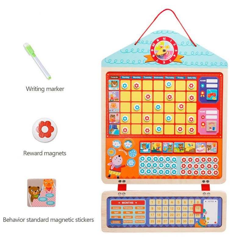 Educational Magnetic Responsibility Chart Playboard for Children Baby Wooden Behavior Record Board Toy with MagnetsEducational Magnetic Responsibility Chart Playboard for Children Baby Wooden Behavior Record Board Toy with Magnets
