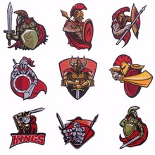 Pulaqi Spartan Warrior Painting Embroidered Patch Sticker Badge Sew-on Iron-on Decor For Jeans Clothes On Garment Accessories H