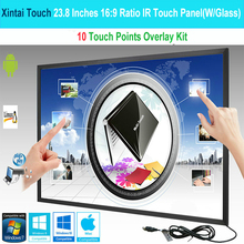 23.8 inch 10 touch points infrared IR Multi Touch Frame / Overlay / Panel with fast shipping(With Glass) цена и фото