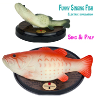 Funny Electronic Singing Plastic Fish Battery Powered Robot Toy Simulation Fishes Novelty Spoof Toys Halloween Decorating Play