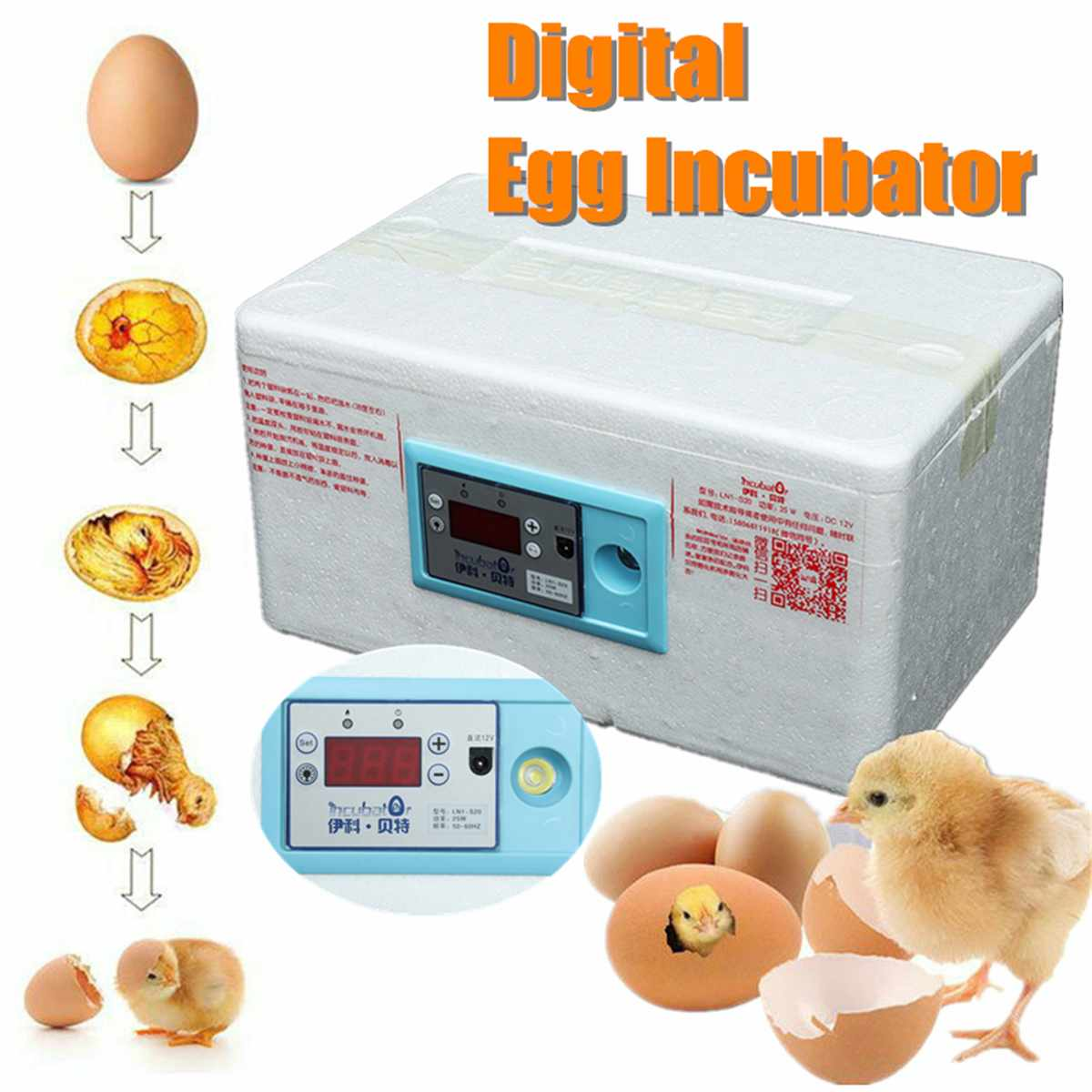 20 Position Automatic Digital Family Eggs Incubator Chicken Poultry Hatcher Home Foam Waterbed Incubator Farm Incubation Tools