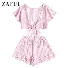ZAFUL полосатый бантик обрезанный Топ и многоуровневый подол шорты набор бикини набор женский купальник