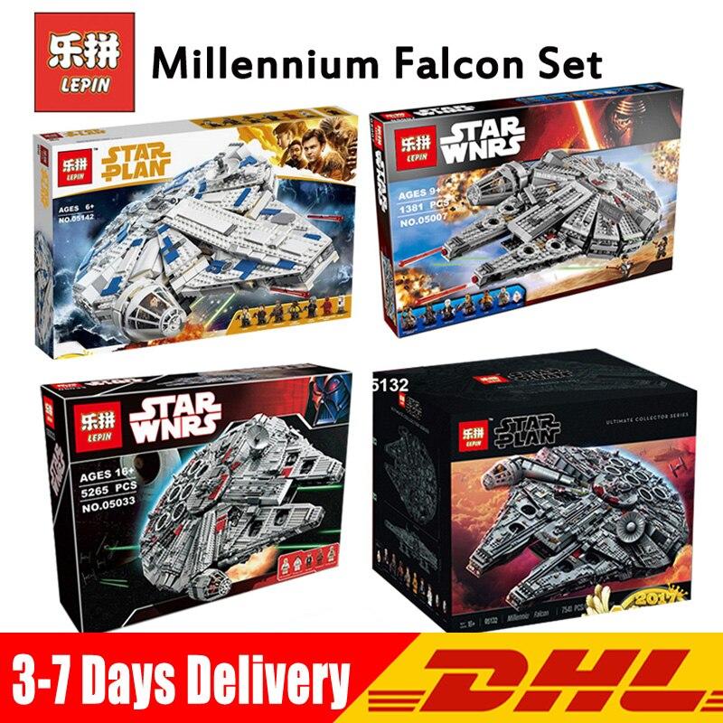 Lepin 05007 05033 05132 05142 Compatible guerre des étoiles LegoINGlys millénium Falcon 75105 10179 75192 75212 blocs jouets éducatifs
