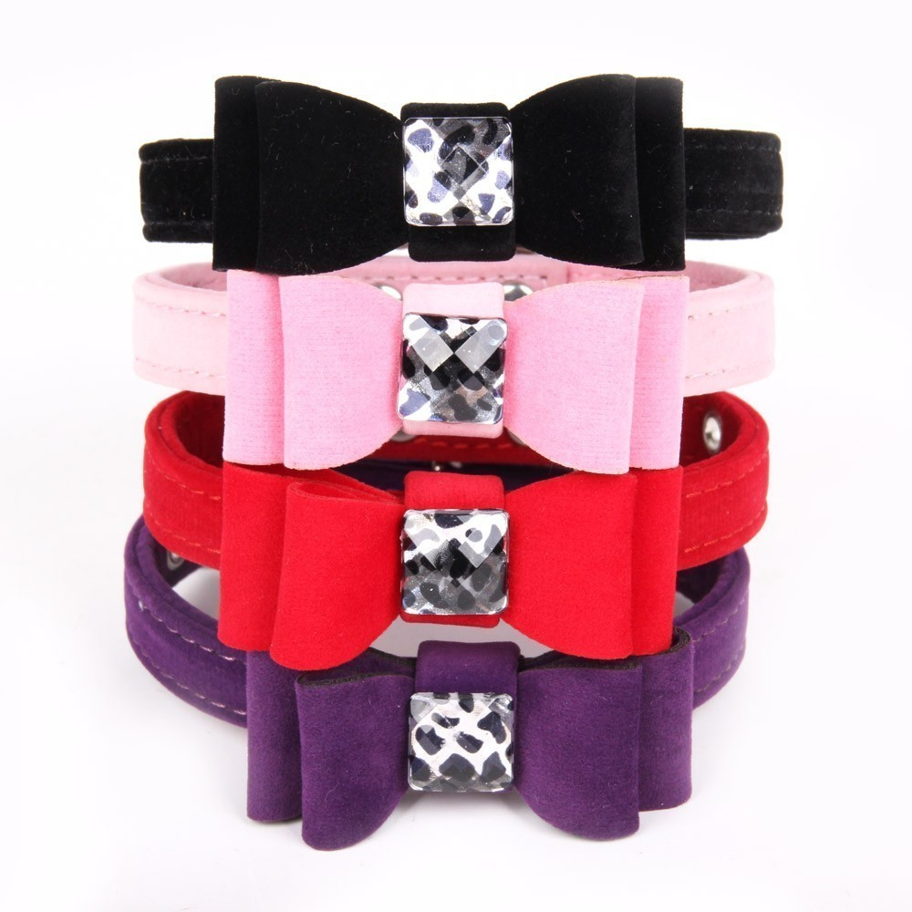 Bowknot gem Cat Collar Soft velvet Material adjustable Puppy Neck Strap Safe Kitten Small Dog Chihuahua Collars S M Dropshipping in Cat Collars Leads from Home Garden