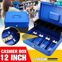 300*250*90mm Blue Portable Cash Box With Drawer Lockable Metal Money Box Coin Cash Piggy Bank Home Store Jewelry Safe