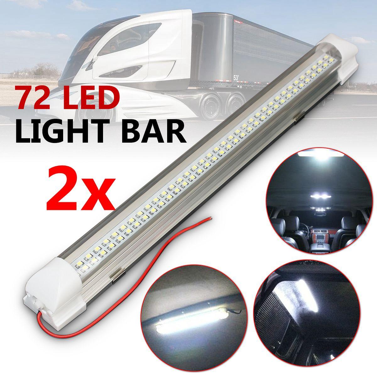 2X 72 LED Interior Light Strip Bar Car Van Bus Caravan ON//OFF Switch 12V 12 VOLT