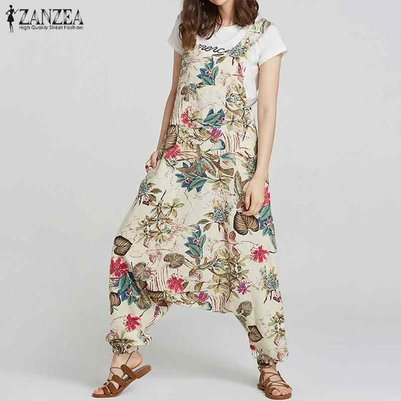 2019 плюс размер ZANZEA Летний комбинезон женские Starppy цветочные хлопок и лен с принтом Длинные Комбинезоны Drop-Crotch брюки Femme