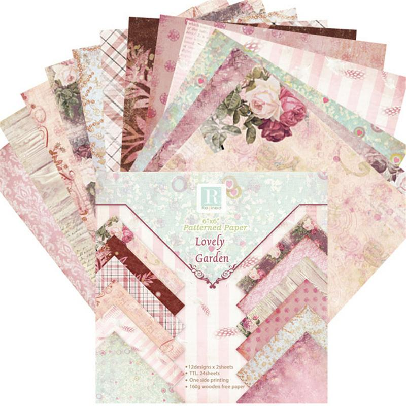 24 Sheets Scrapbook Paper Lovely Garden Scrapbooking Pad Paper Origami Art Background Paper Card Making DIY Birthday Paper Craft