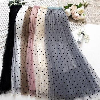 e46c21935 2019 primavera nueva faldas Tule de Corea las mujeres de cintura alta  impreso de punto de malla de Tutu Falda plisada Falda Midi Falda tul Mujer