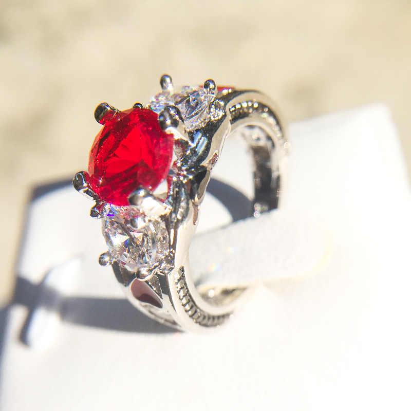 Rosso Del Cuore di Zircon Anelli di Fidanzamento per Le Donne Gli Anelli di Nozze Femminili Della Vite Del Fiore Cristalli di Forma Gioelleria raffinata e alla moda