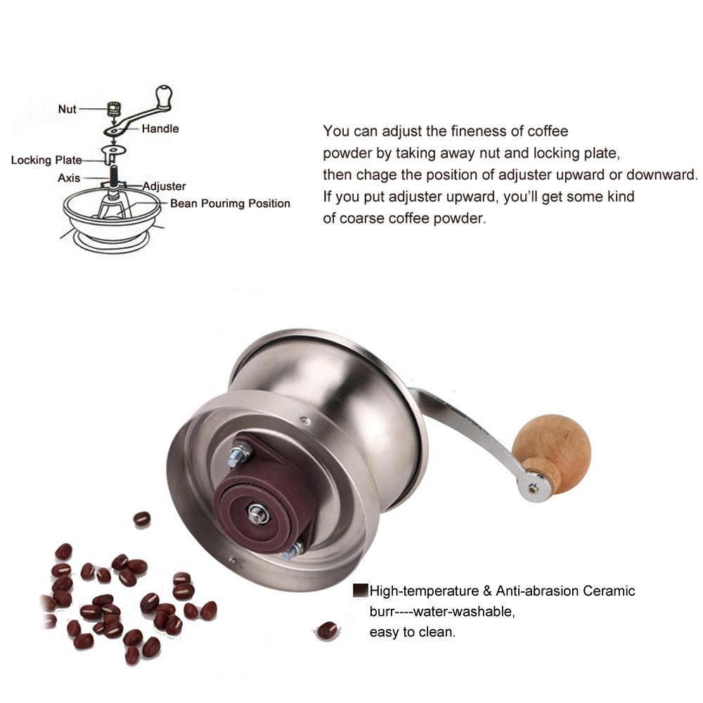 Прочная кофейная посуда портативная ручная кофемолка с Регулируемый Керамический заусенец из нержавеющей стали кофейная мельница для перца