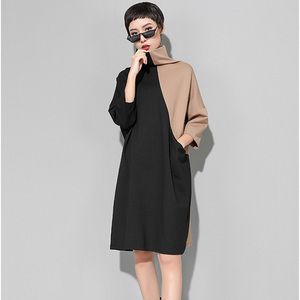 Image 2 - [EAM] 2020 nouveau printemps hiver col haut à manches longues Hit couleur ample grande taille sweat robe femmes mode marée JK399