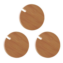 Cup Lids Mug-Cover Drink-Cup Wood 3 with Spoon-Hole for 3pcs Dust-Proof Easy-To-Clean