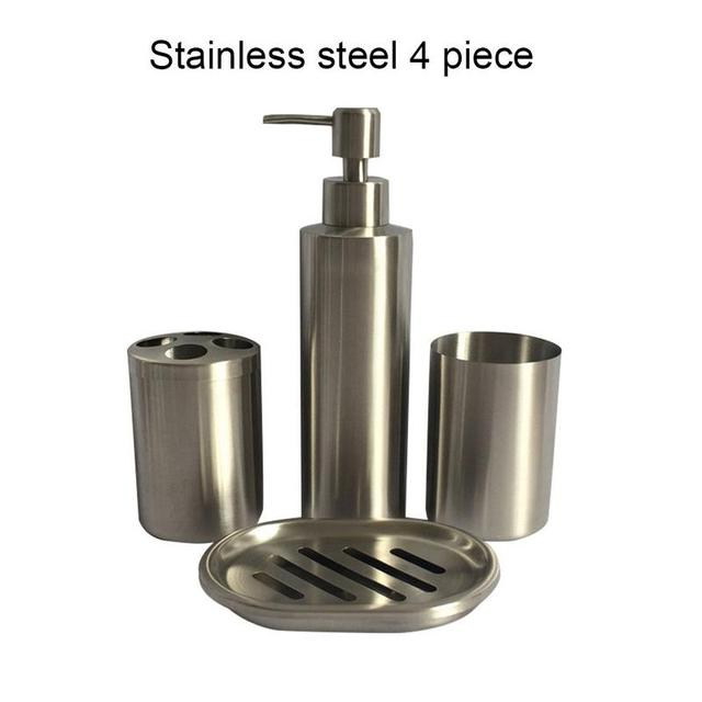 304 Stainless Steel Bathroom Set 4 Piece Lotion Bottle Toothbrush Holder Wash Cup Soap Box Supplies