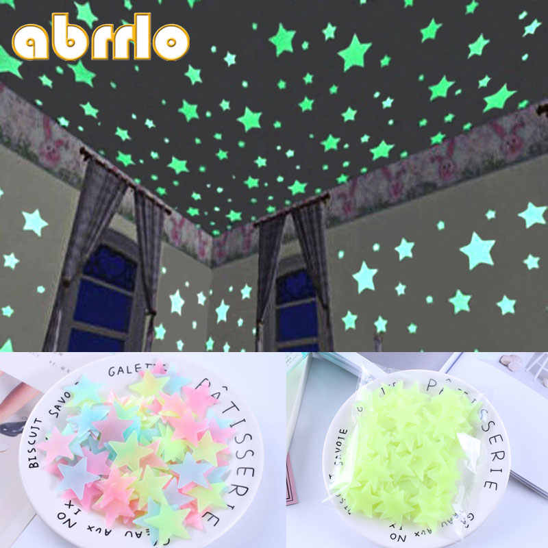100pcs 3D Fluorescent In The Dark Stars Glow Wall Stickers for Kids Room living room Wall Ceiling Removable Wallpaper Home Decor
