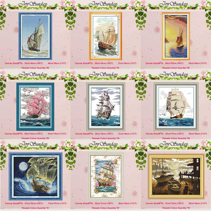 Plain Sailing Boat Ship Counted 11CT 14CT Cross Stitch Set Wholesale DIY DMC Cross-stitch Kit Embroidery Needlework Home Decor