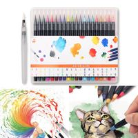 20 Colors Watercolor Drawing Painting Pen Brush Artist Sketch Manga Markers Set Coloring Books Manga Comic Calligraphy