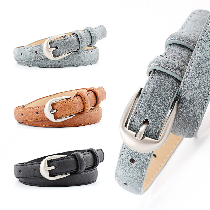 Women Candy Color Thin Belts Lady Pants Dress Waist Leather Belts Metal Pin Buckle Belts Skinny Waistband Brand Belt