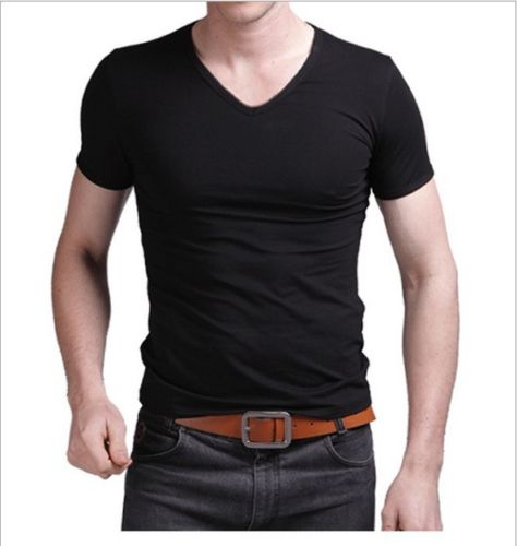 2019 Summer Hot Sale T- Shirt New Men's V Neck Tops Tee Shirt Slim Fit Short Sleeve Solid Color Casual T-Shirt