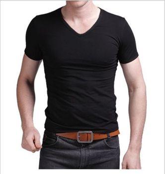 2019 letnia gorąca sprzedaż t-shirt nowa męska koszulka z dekoltem w serek koszulka Slim Fit z krótkim rękawem Solid Color luźna koszulka tanie i dobre opinie hirigin Tees Na co dzień Topy Stałe COTTON Poliester Regular V-neck Suknem