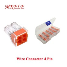 MKELE 20PCS Quick Wire Connector Junction Boxes 4pin Cable Terminal Block Push wire conectores MKVSE-104