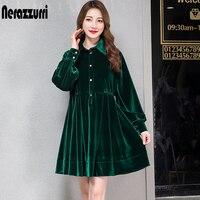 Nerazzurri velvet dress women pleated warm black green long sleeve velour dress button knee length plus size dress 5xl 6xl 7xl