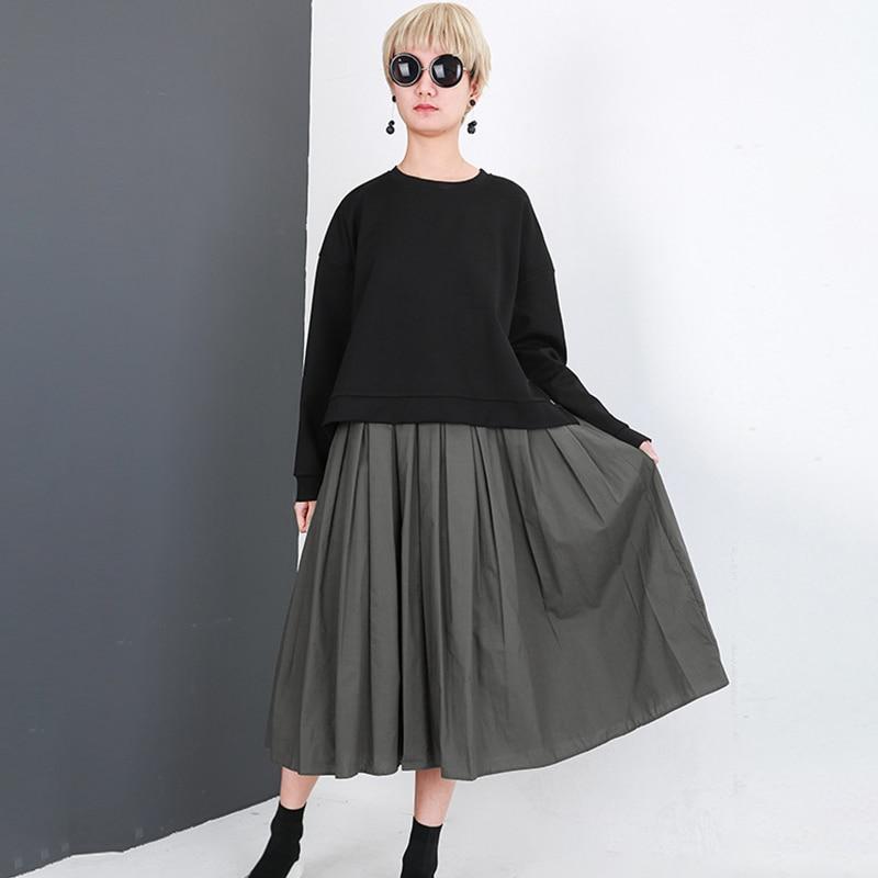 LANMREM 2018 New Autumn Long Sleeve Fold Green Vest Loose Two Piece Set Dress Women Patchwork Personality Clothing  JE458