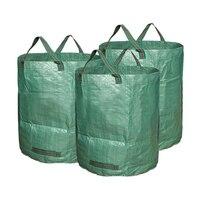 O jardim leve deixa o saco de resíduos de 80 galões 300l resistente grande bin reusável saco de armazenamento portátil leva saco de plástico|Cestos de lixo p/ quintal| |  -