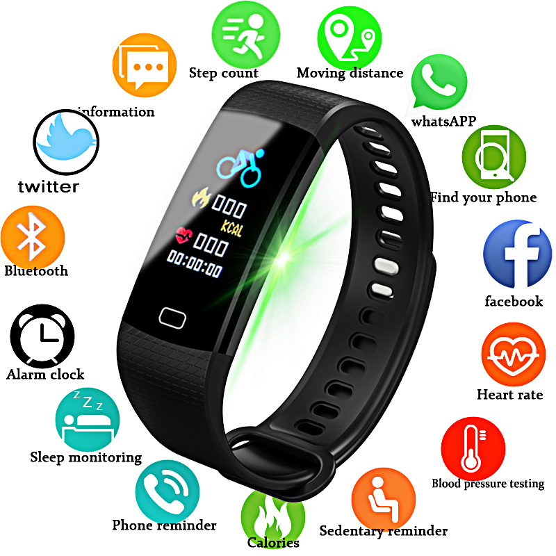 Fitness Smart Watch Women Men Bluetooth Heart Rate Blood Pressure Pedometer Clock LED Sport Watch For Android IOS+Box 2019