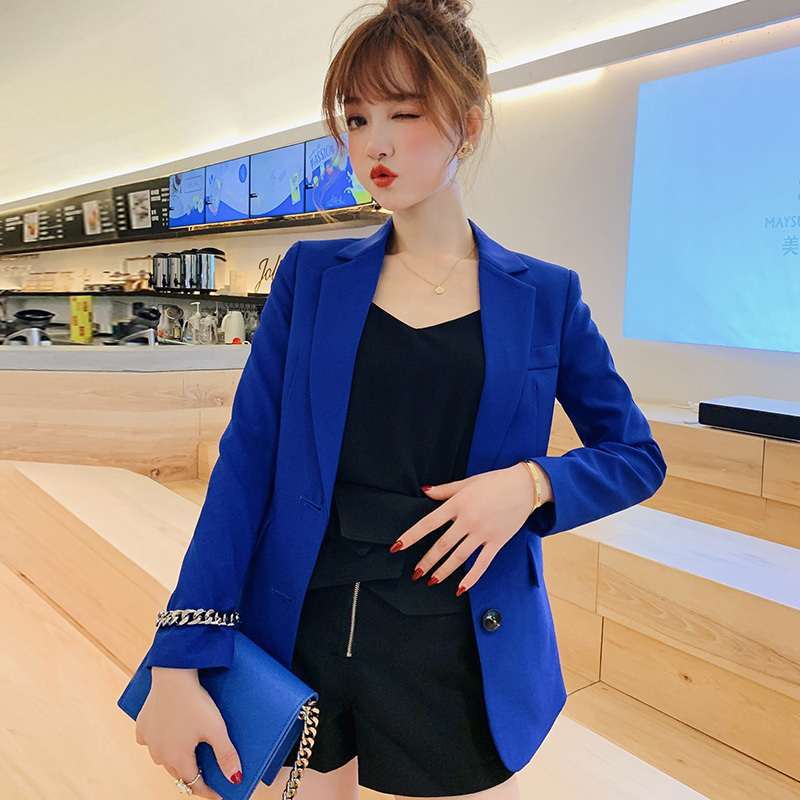 PEONFLY Blazer Feminino Female Formal Jacket Single Breasted Blue Women Suit Office Ladies Fashion Suit Solid Color Loose Coat