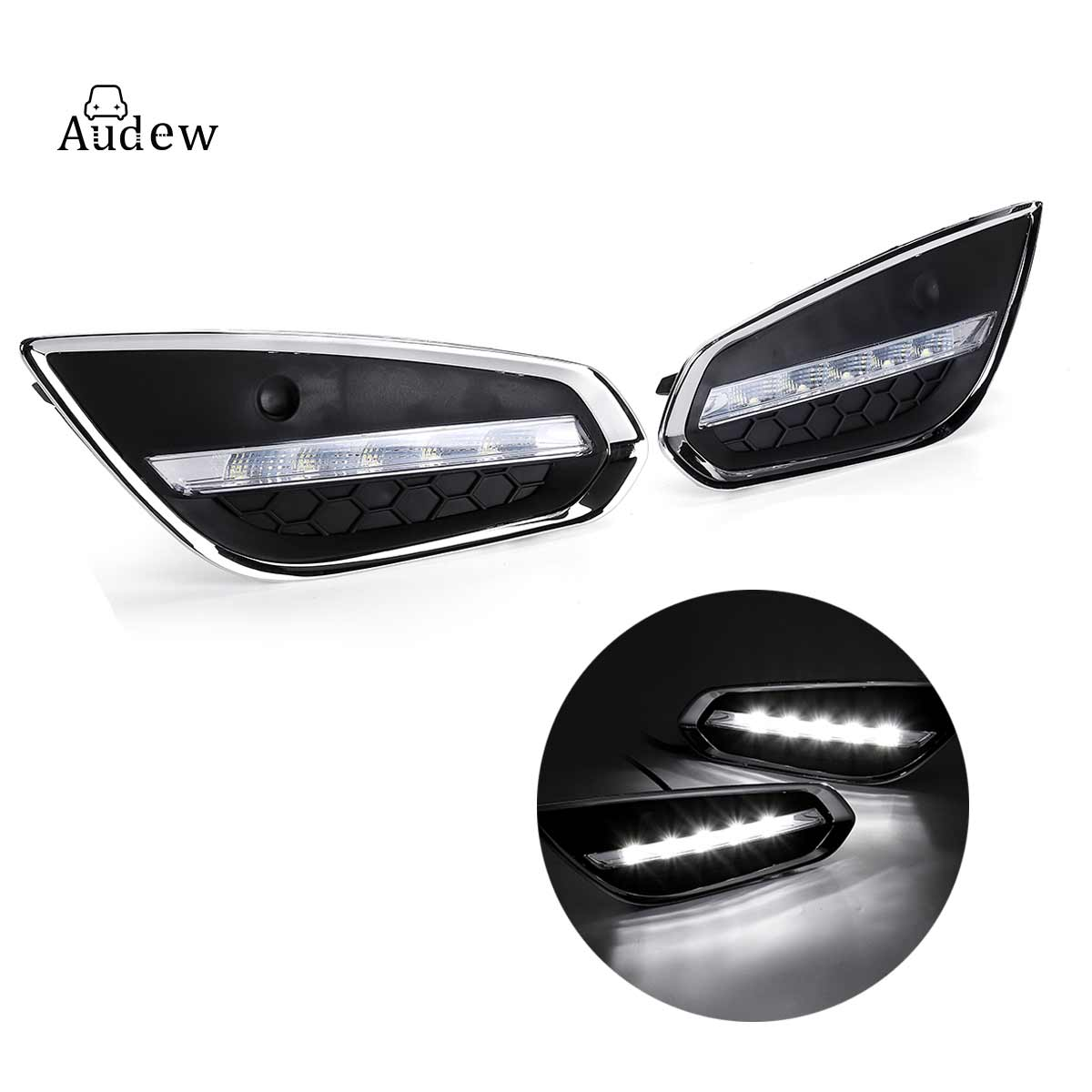 2pcs Car Styling LED DRL Daytime Driving Running Lights Daylight w Fog Lamp Cover for Volvo