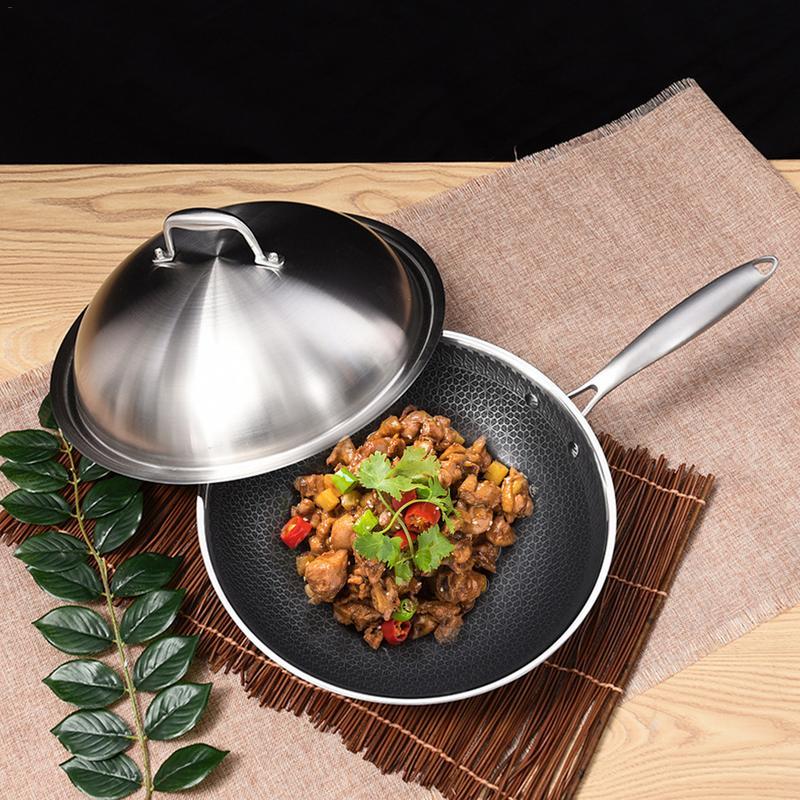 304 trois couches en acier inoxydable Wok pas de fumée d'huile fond plat maison marmite cuisinière à gaz universel poêle antiadhésive