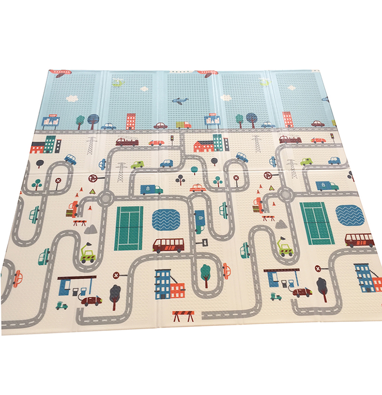 200cmx180/150cm XPE Baby Play Mat Foldable Play Double-sided Mat Waterproof Thick Home Baby Room Puzzle Road Carpet
