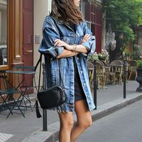Women Denim Ripped Hole Jeans Buttons Down Long Sleeve Coat Jacket Tops Autumn