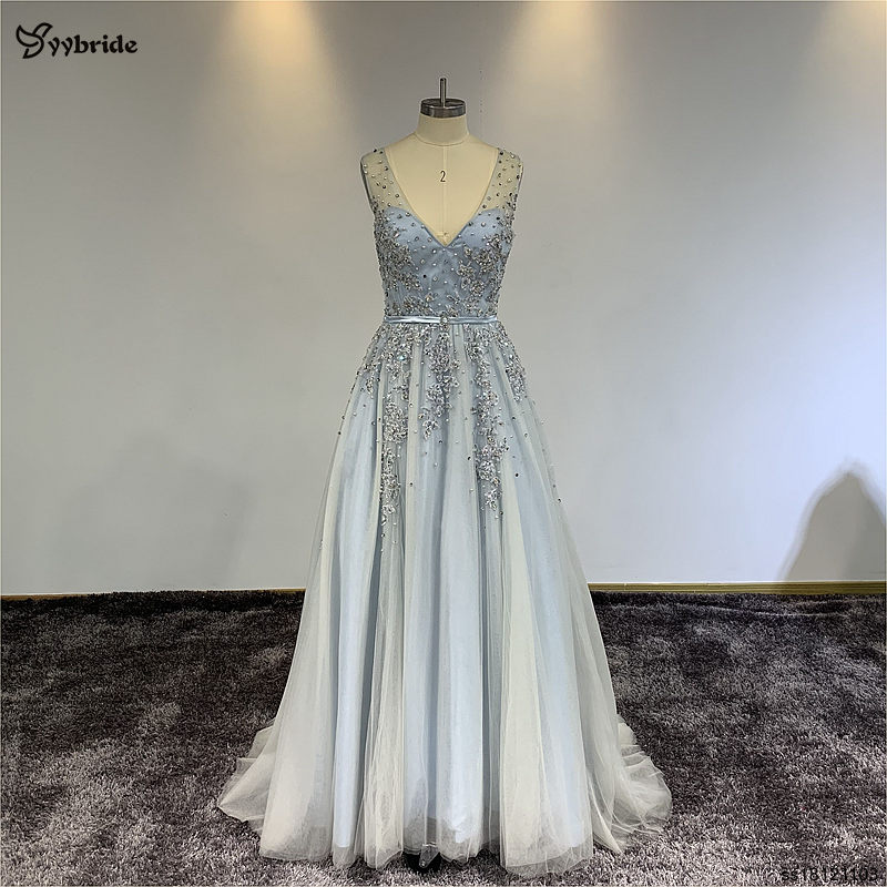 YYbride Stock Sample Cheap Price Lace Dresses V-neck Beading Light Blue Prom Dresses Special Offer High Quality Evening Dresses