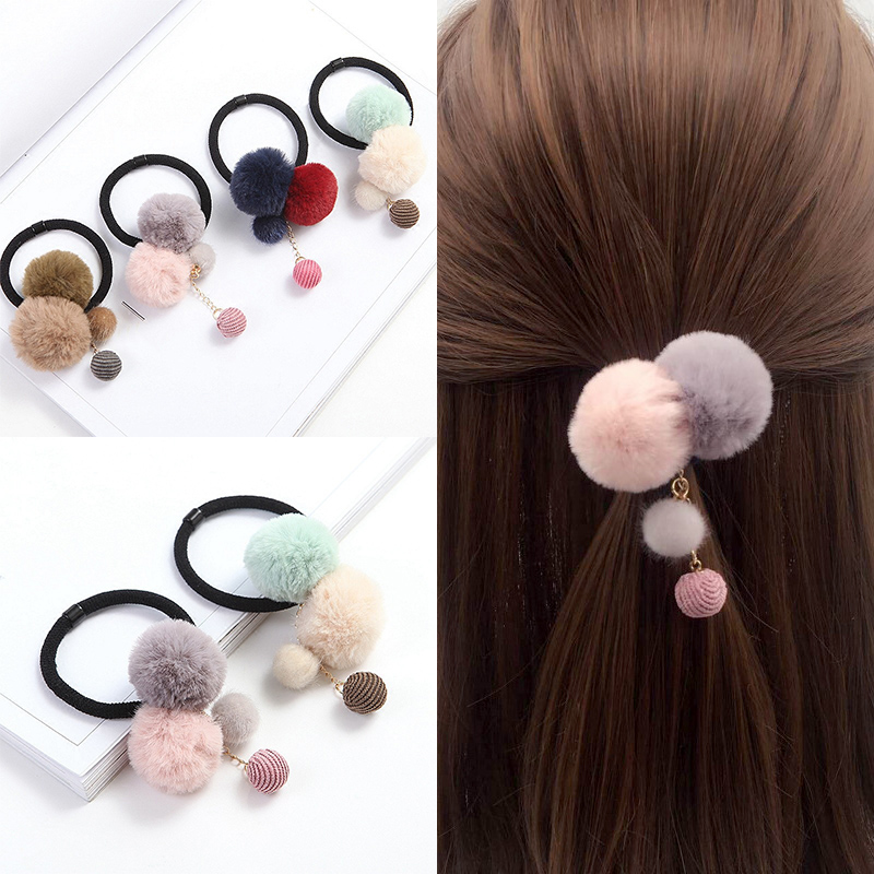 Unique Faux Fur Ball 1PC Hair Rope Seaside 4 Colors Girls Elastic Beautiful Colorful Pompon Exquisite Creative Ball Adjustable