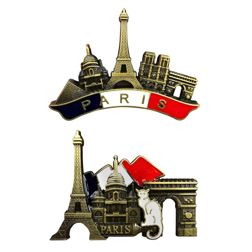 French Paris Refrigerator Sticker Metal 3D Souvenir Fridge Magnet Handmade Travel City Collection Letter Refrigerator Stickers