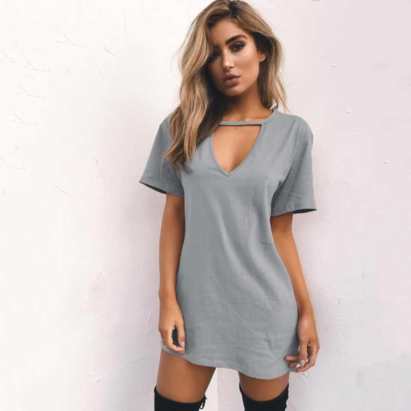 Décontracté T Shirt robe été Sexy Mini robes de grande taille évider col en V à manches courtes solide noir blanc dames Vestido L30