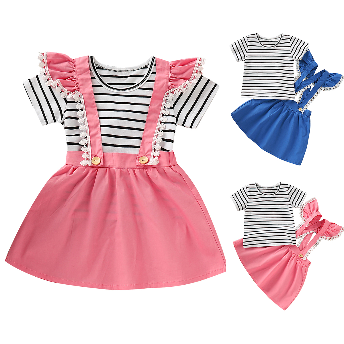 Toddler Baby Girls Clothes Ruffle Striped T Shirt Tops Skirt Dress Outfits Set