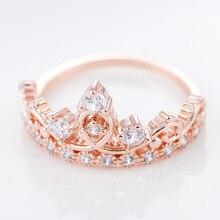 Fashion 14K Rose Gold Ring Diamante Diamond Korean Version Zircon Wedding Gemstone Crown AAA Zircons Jewelry Bizuteria