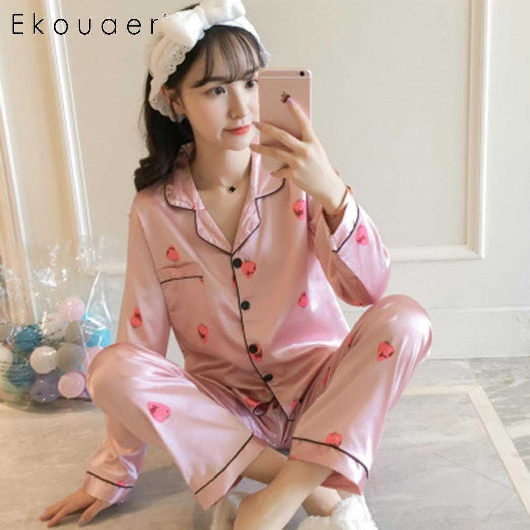 Ekouaer Womens Silk Satin Pyjamas Set Long Sleeve Print Pajamas Sleepwear Set Two Piece Pajama Sets Plus Size M-5XL