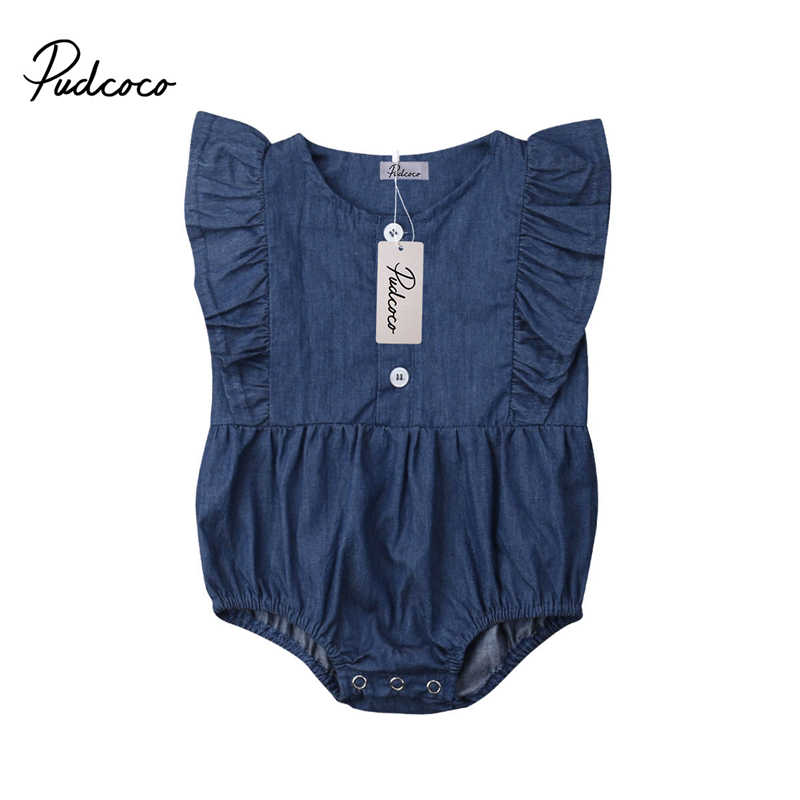 f2a043a9080dc Infant Newborn Baby Girl Jeans Romper Sleeveless Jumpsuit Denim Clothes  Toddler Kids Summer Rompers Outfits Clothing Overalls