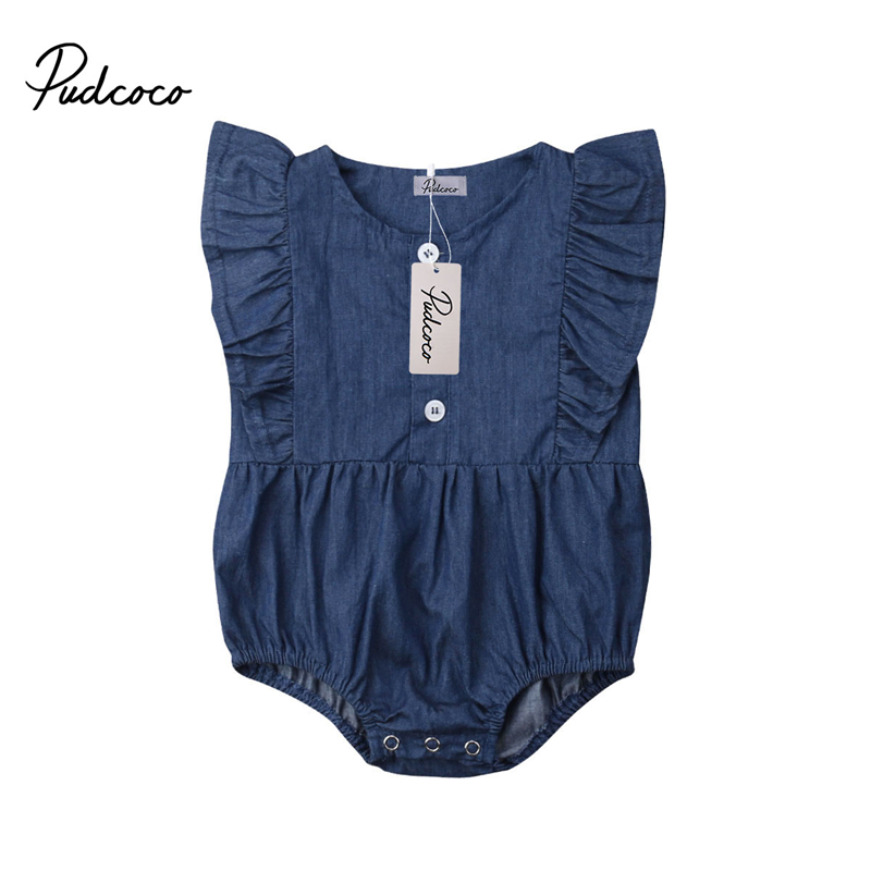 Infant Newborn Baby Girl Jeans   Romper   Sleeveless Jumpsuit Denim Clothes Toddler Kids Summer   Rompers   Outfits Clothing Overalls