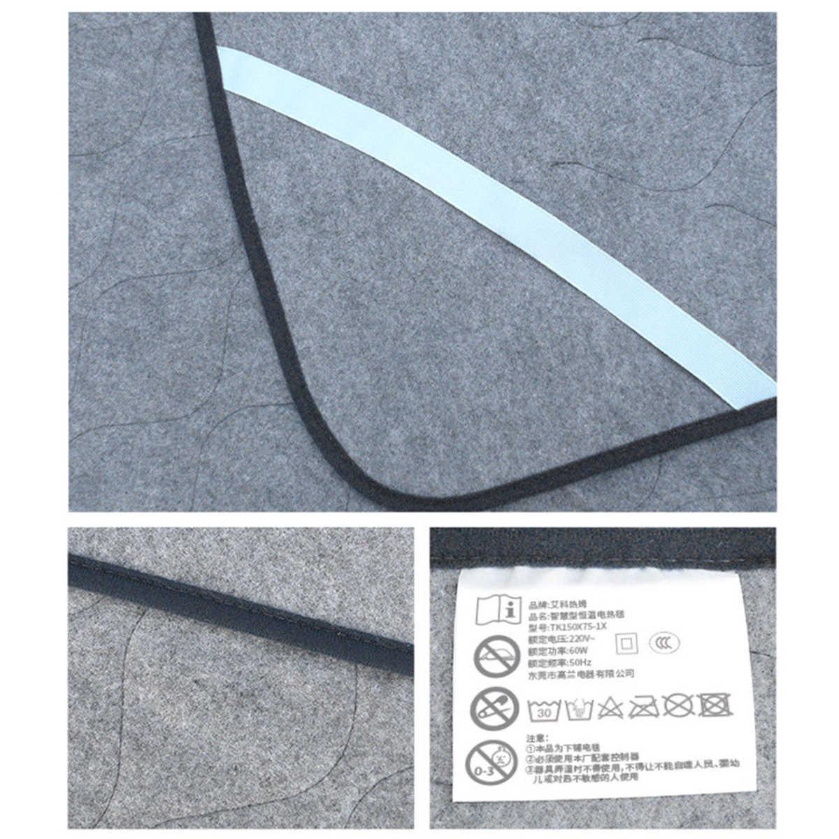 Zimowy koc elektryczny ciepły mata grzewcza Pad rzut pod materac na łóżko włóknina kocyk z tkaniny regulowany 3 kolory 150*75cm