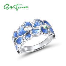 SANTUZZ gümüş çiçek yüzük kadınlar için saf 925 ayar gümüş zarif mavi Petal yüzük beyaz CZ moda takı el yapımı emaye