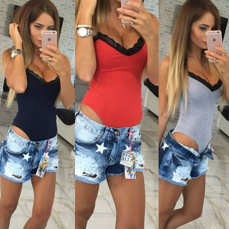 Women Sleeveless Bodysuit Stretch Ladies Leotard Body Tops Women Casual Solid Skinny Lace Patchwork V-neck Bodysuits