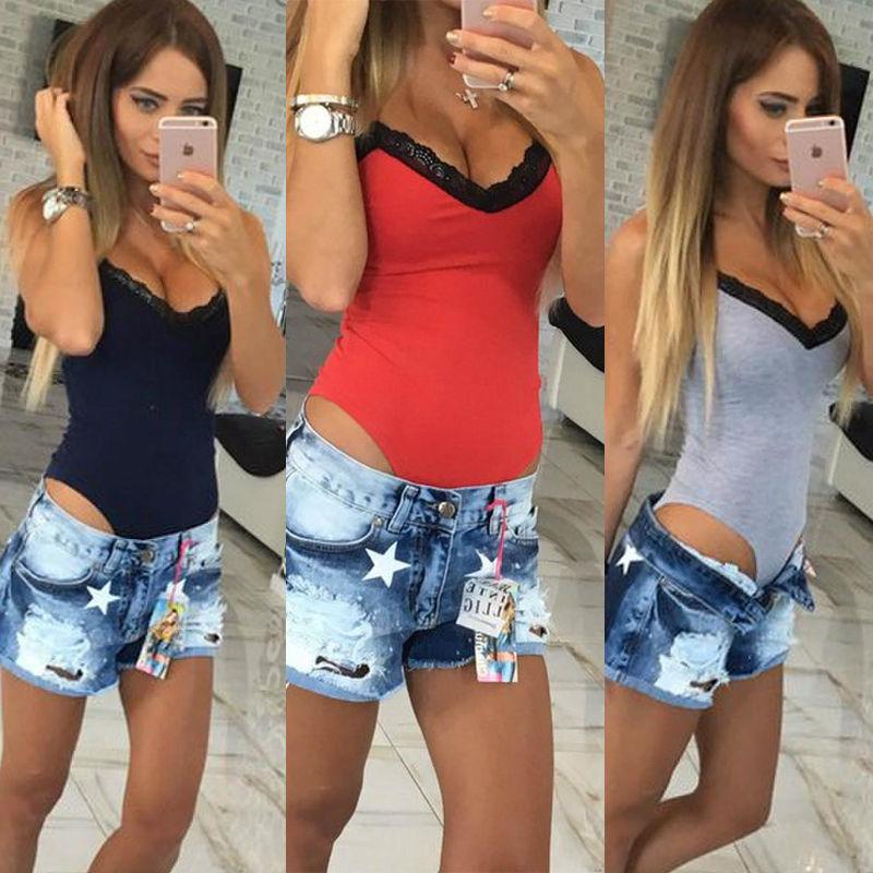 Women Sleeveless Bodysuit Stretch Ladies Leotard Body Tops Women Casual Solid Skinny Lace Patchwork V-neck Bodysuits