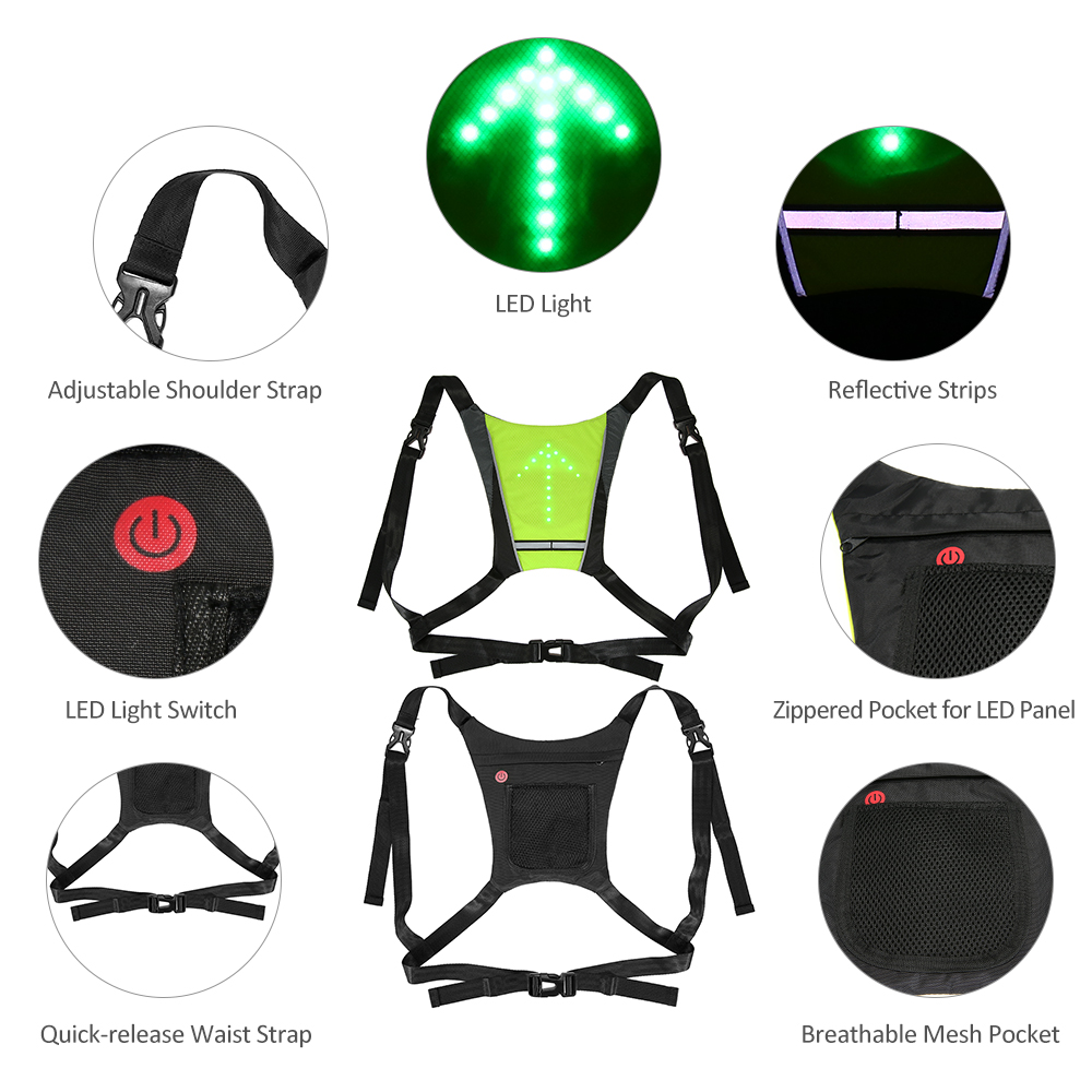 Lixada Bike Bag Usb Reflective Vest Backpack With Led Turn Signal Light Remote Control Sport Safety Bag Gear For Cycling Buy One Give One Cycling Bicycle Bags & Panniers