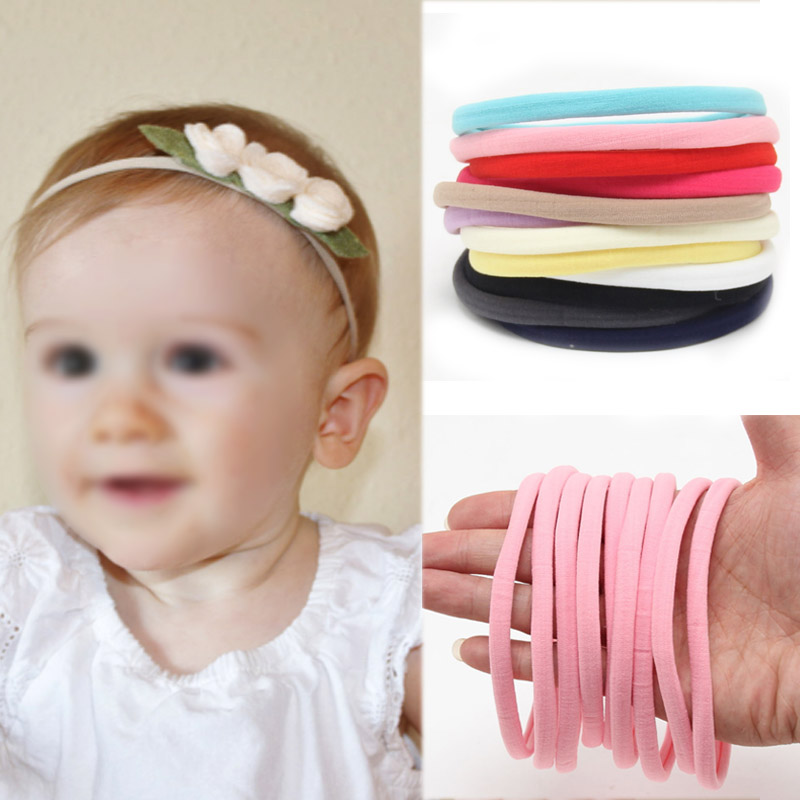 Hot Sale 10PCS/bag Spandex Nylon Handmade Kids Headband Baby Girl Boy Children DIY Elasticity Hairbands