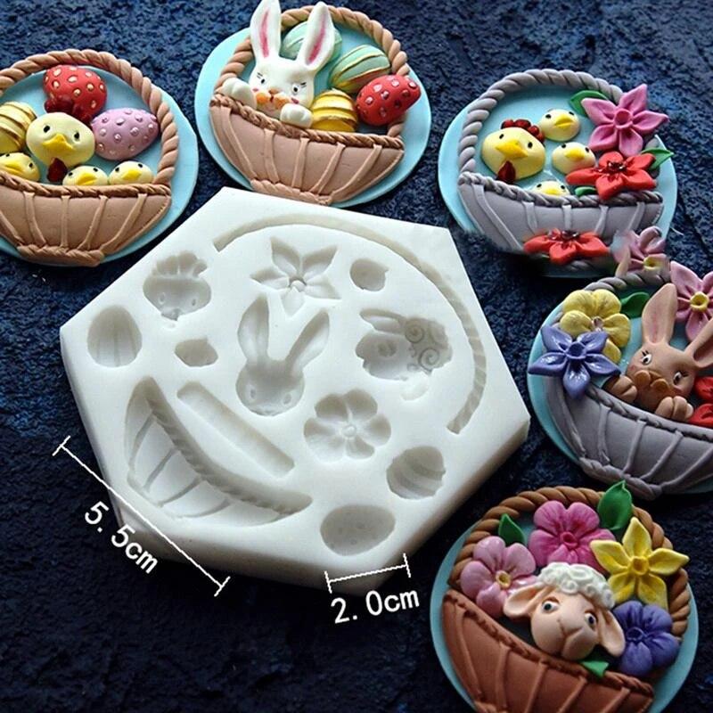 Rabbit Egg Flower Basket Shape Mold Mould Fondant Cake Decoration Baking one